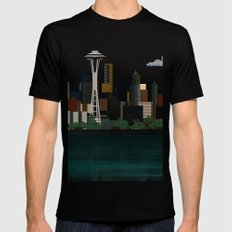 Seattle LARGE Black Mens Fitted Tee
