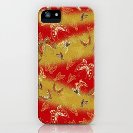 Red and Gold butterflies pattern iPhone Case