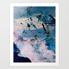 View from the Top: a pretty, minimal abstract piece in blue gold and white by Alyssa Hamilton Art Art Print