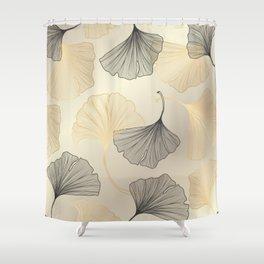 Abstract pattern with Luxury gold Ginkgo. Exotic botanical design, elegent, luxury, golden, sparkle, glitter background Shower Curtain