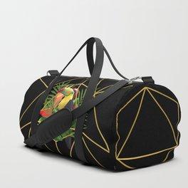 Bold Golden Geometric Tropical Bouquet With Toucan Duffle Bag