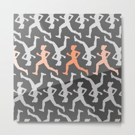 Grey and Pastel Running Girl Pattern Metal Print