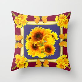 BUTTERFLY SUNFLOWER BOUQUETS BURGUNDY ART Throw Pillow