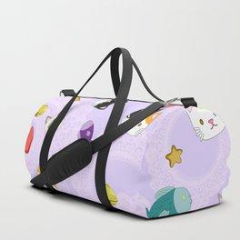 Cat Pattern Purple Duffle Bag