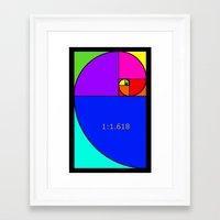 fibonacci Framed Art Prints featuring Fibonacci Spiral by Arts and Herbs