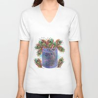 feathers V-neck T-shirts featuring Feathers by famenxt