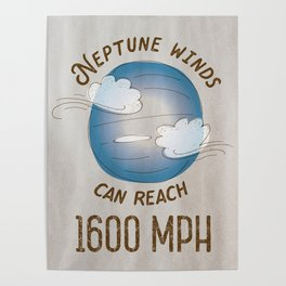 Neptune Winds - Solar System Series of Posters Poster