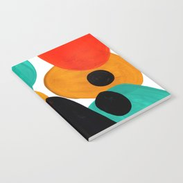 Mid Century Modern Abstract Minimalist Retro Vintage Style Rolie Polie Olie Bubbles Teal Orange Notebook