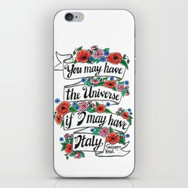 Hand-lettered Verdi Italy quote with flowers iPhone Skin
