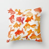 goldfish Throw Pillows featuring Goldfish by Cat Coquillette