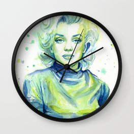 Marilyn Portrait Watercolor Painting Actress Old Hollywood Wall Clock