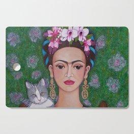 Frida cat lover closer Cutting Board