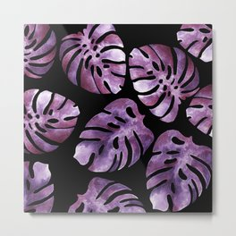 Monstera Purple Metal Print