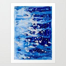 Blue waterfall encaustic painting Art Print