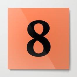 8 (BLACK & CORAL NUMBERS) Metal Print