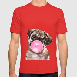 Pug with Pink Bubble Gum T-shirt