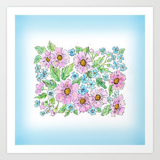 Colorful floral pattern . 1 Art Print