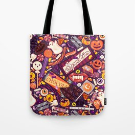Creepy Halloween Candy on Purple Tote Bag