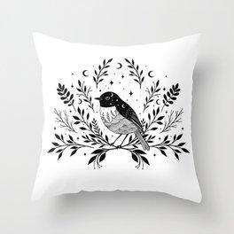 A Bird with Seven Moons Throw Pillow