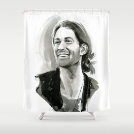 portrait of laughing man Shower Curtain