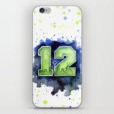 12th Man Seahawks Seattle Go Hawks Art iPhone & iPod Skin