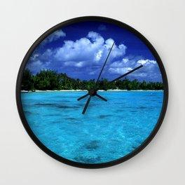Tahiti Island Waters Over Big, Dramatic Tropical Sky Wall Clock