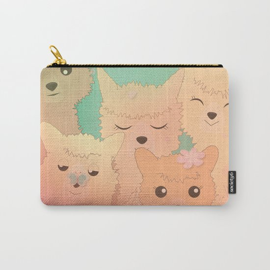 Alpaca Family II - Mint Green Spring Cherry Blossom Background Carry-All Pouch