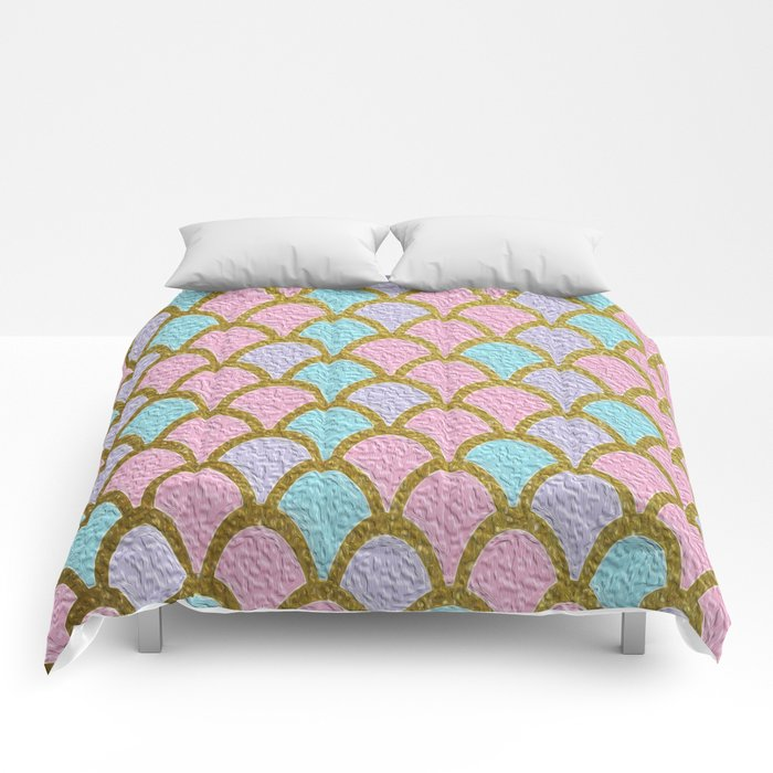 Mermaid Scales Golden Pastel Comforters