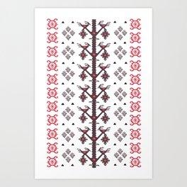 Tribal Ethnic Love Birds Kilim Rug Pattern Art Print