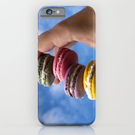colorfull french macaroons on green background iPhone Case