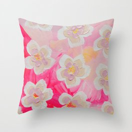 Pink Orchard Throw Pillow