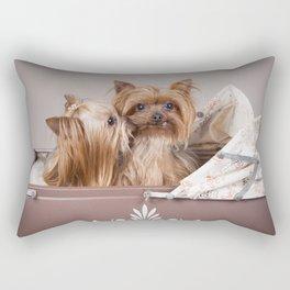 Yorkshire terrier dogs kiss Rectangular Pillow