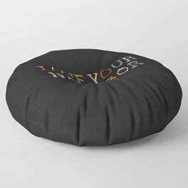 Love Your Neighbor Colorful on Black Floor Pillow
