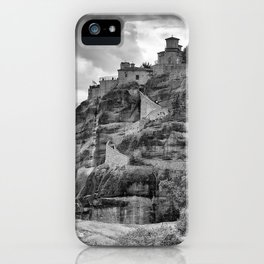 One of the famous Meteora Monasteries, Greece. Black and white image. iPhone Case
