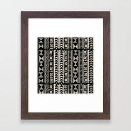 Boho Mud cloth (Black and White) Framed Art Print