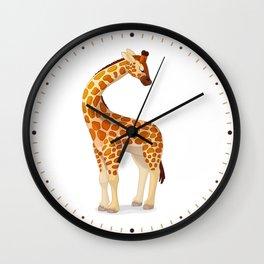 Cute giraffe. Vector graphic character Wall Clock