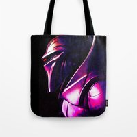 "battlestar Tote Bags featuring ""Some Kinda' Crazy, Frakked Up Cylon Signal..."" by Cullen Rawlins"