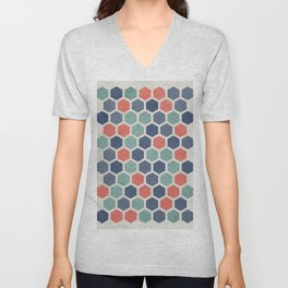 Honeycomb Geometrics, Vintage, Throw-Pillows, Art-Prints Unisex V-Neck
