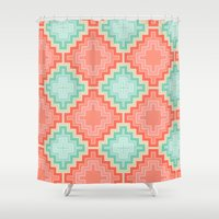 kilim Shower Curtains featuring coral mint kilim by musings