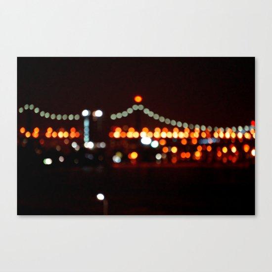 New York Night Bridge Canvas Print
