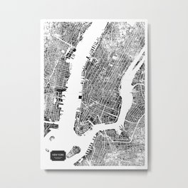 New York City Map United States White and Black Rubbing Metal Print