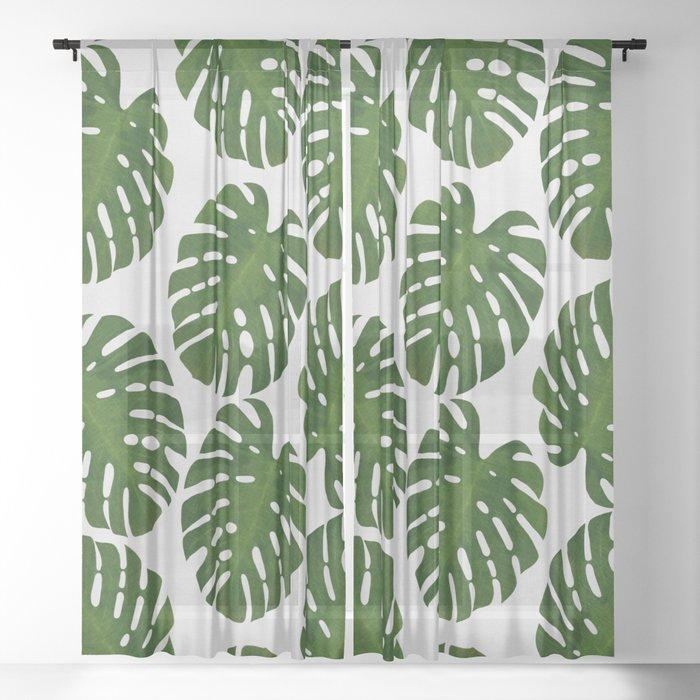 Monstera Leaf III Sheer Curtain
