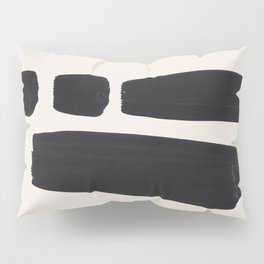 Mid Century Modern Minimalist Abstract Art Brush Strokes Black & White Ink Art Square Shapes Pillow Sham