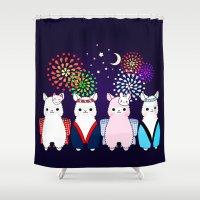 alpaca Shower Curtains featuring Alpaca Festival  by rinicake