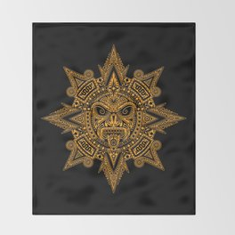 Ancient Yellow and Black Aztec Sun Mask Throw Blanket