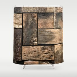 Rustic Wood Block // Tetris Jenga Vibe Real Hardwood Texture Accent Decoration Shower Curtain