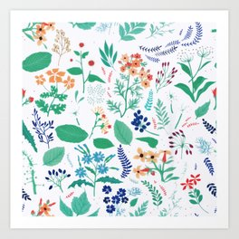 Summer Garden Flowers Leaves Botanical Blooms Watercolor Art Print