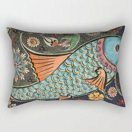 Mosaic Fish Tile Art Rectangular Pillow