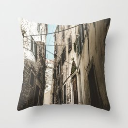 STAIR IN THE MIDDLE OF BUILDINGS Throw Pillow