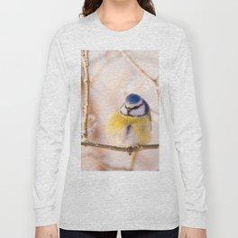 Blue Tit Bird on Winter Day #decor #society6 #buyart Long Sleeve T-shirt